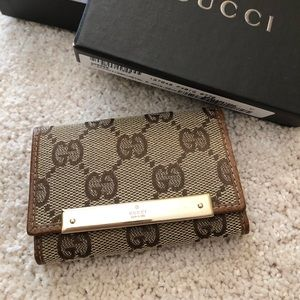 💯Auth Gucci GG canvas leather key case